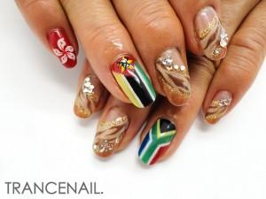 南アフリカ 国旗ネイル