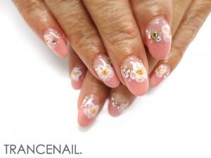 ピンク+フラワーネイル