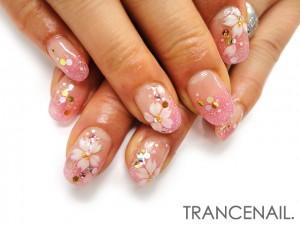 桜のイラストネイル