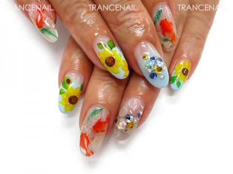 向日葵と金魚のイラストネイル
