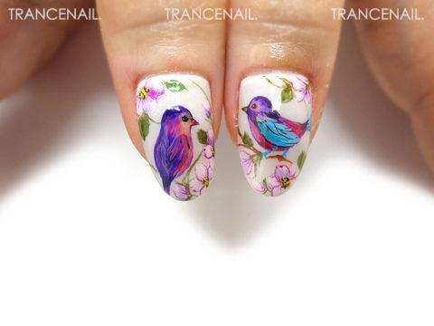 小鳥と桃の花_2